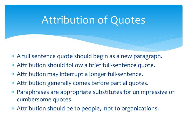 Attribution of Quotes