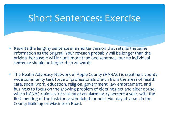 Short Sentences: Exercise