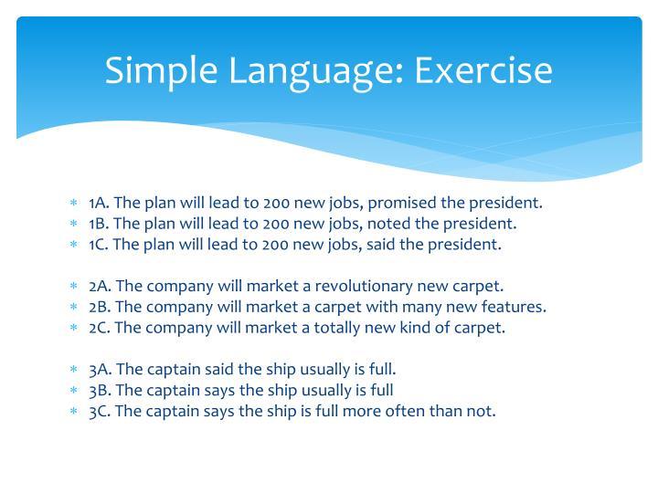 Simple Language: Exercise
