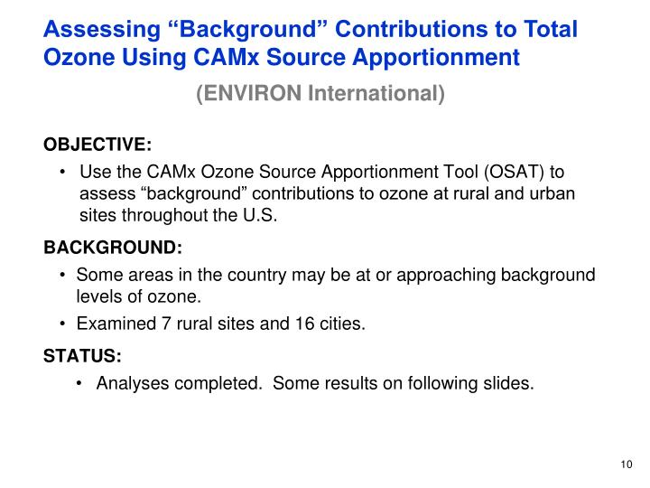 "Assessing ""Background"" Contributions to Total Ozone Using CAMx Source Apportionment"