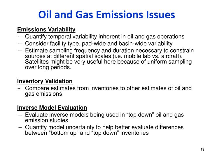 Oil and Gas Emissions Issues