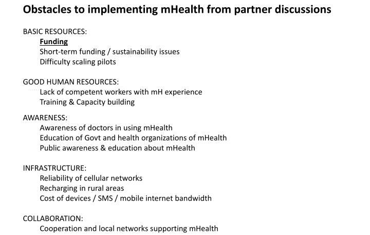 Obstacles to implementing mHealth from partner discussions