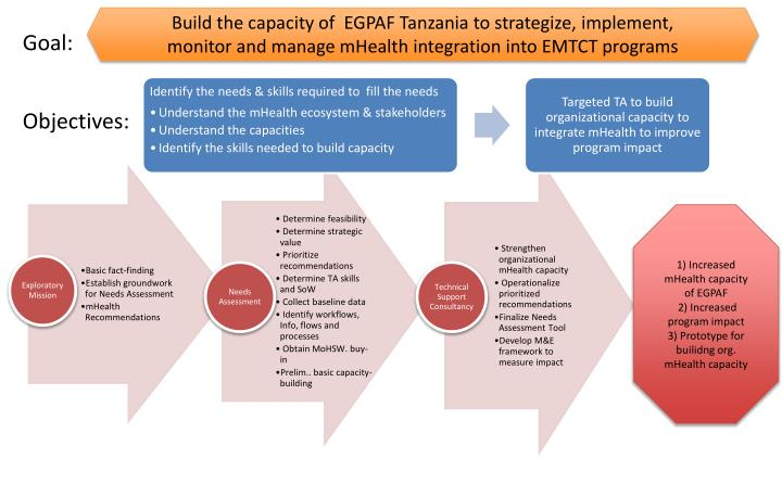 Build the capacity of  EGPAF Tanzania to strategize, implement, monitor and manage mHealth integration into EMTCT programs