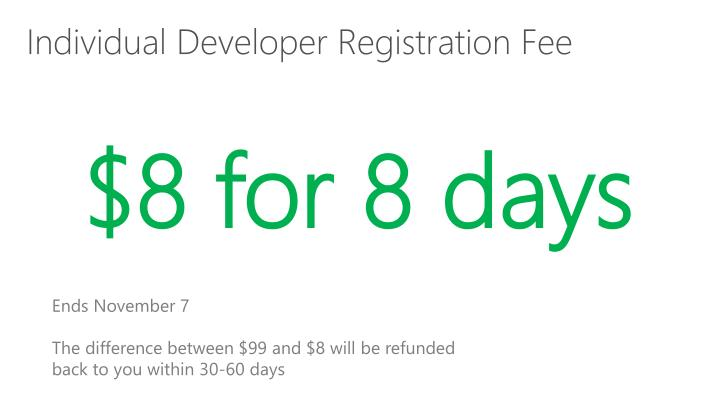 Individual Developer Registration Fee