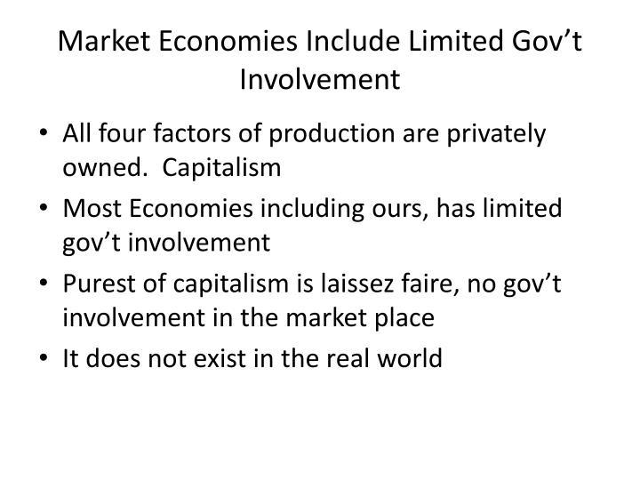 Market Economies Include Limited Gov't Involvement
