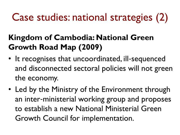 Case studies: national strategies (2)