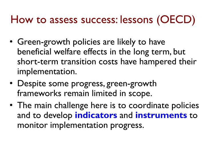 How to assess success: lessons (OECD)