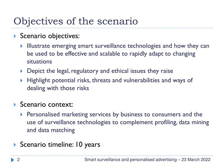 Objectives of the scenario