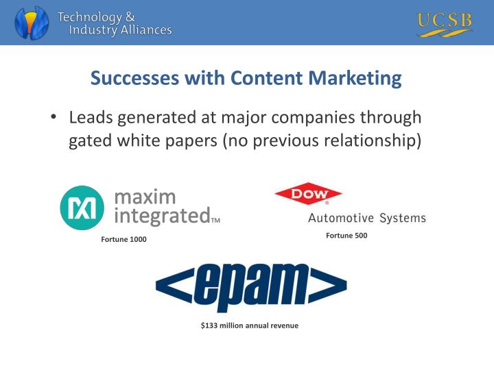 Successes with Content Marketing
