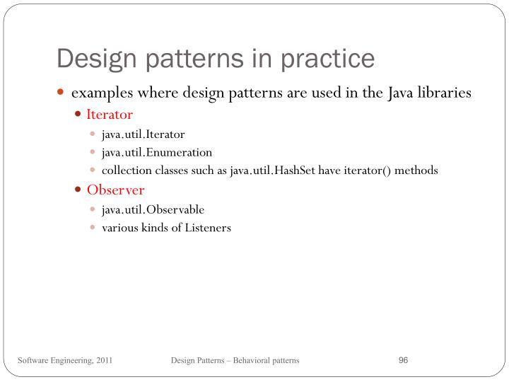 Design patterns in practice