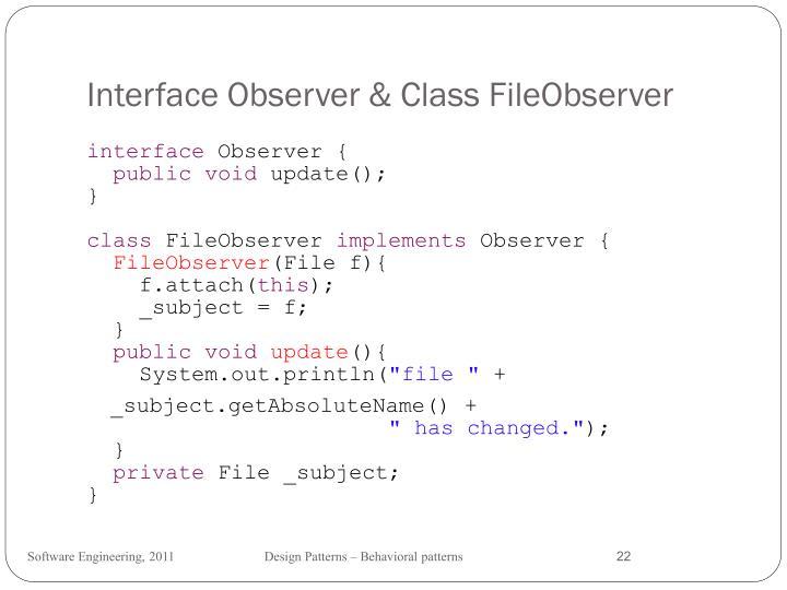 Interface Observer & Class