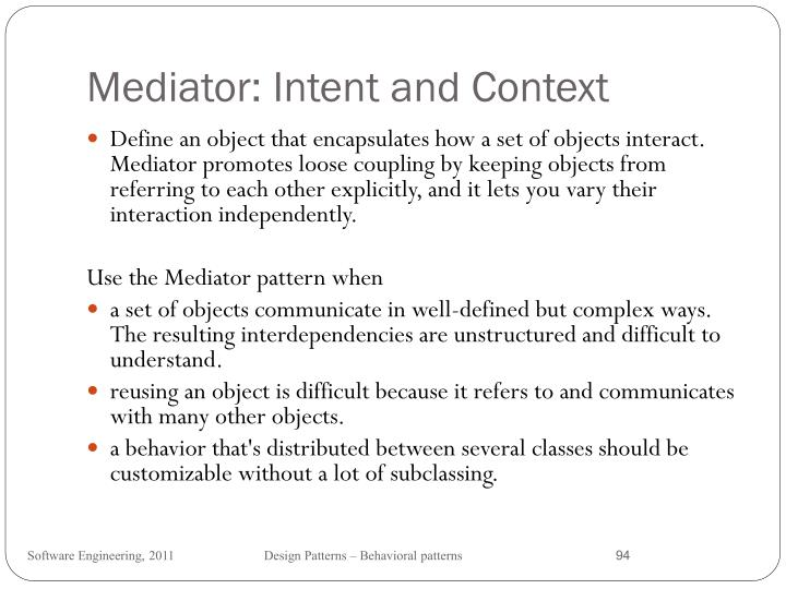 Mediator: Intent and Context