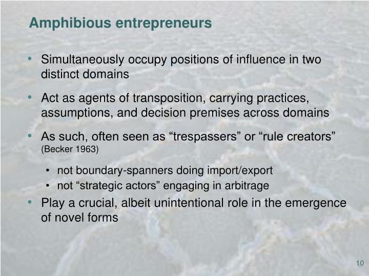 Amphibious entrepreneurs