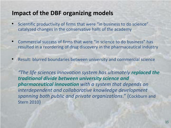 Impact of the DBF organizing models