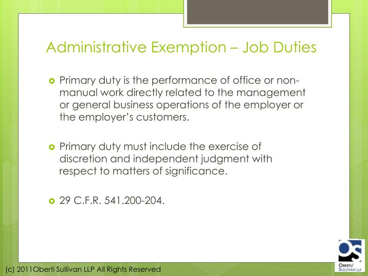 Administrative Exemption – Job Duties