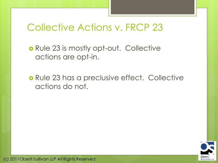 Collective Actions v. FRCP 23