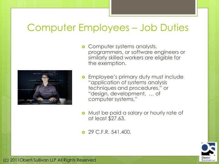 Computer Employees – Job Duties