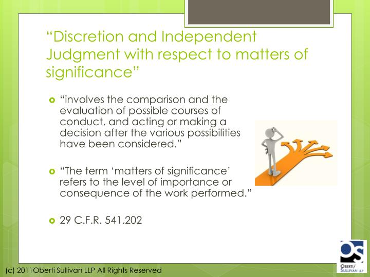 """Discretion and Independent Judgment with respect to matters of significance"""