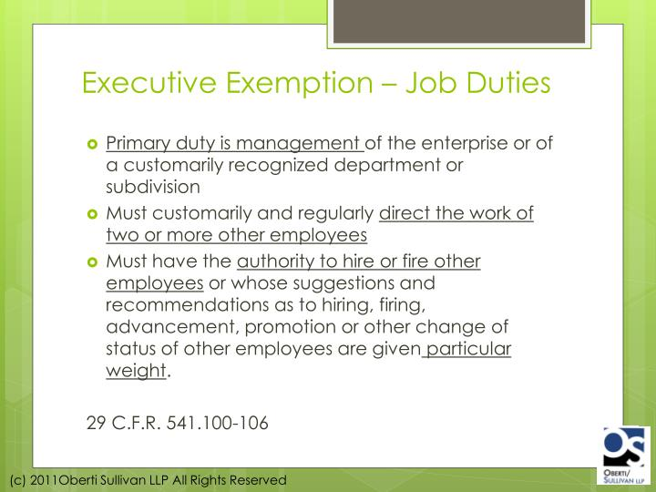Executive Exemption – Job Duties