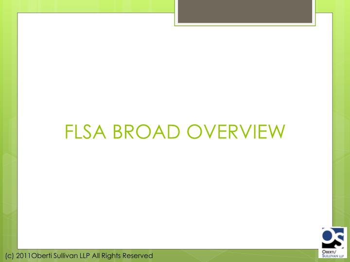 FLSA BROAD OVERVIEW