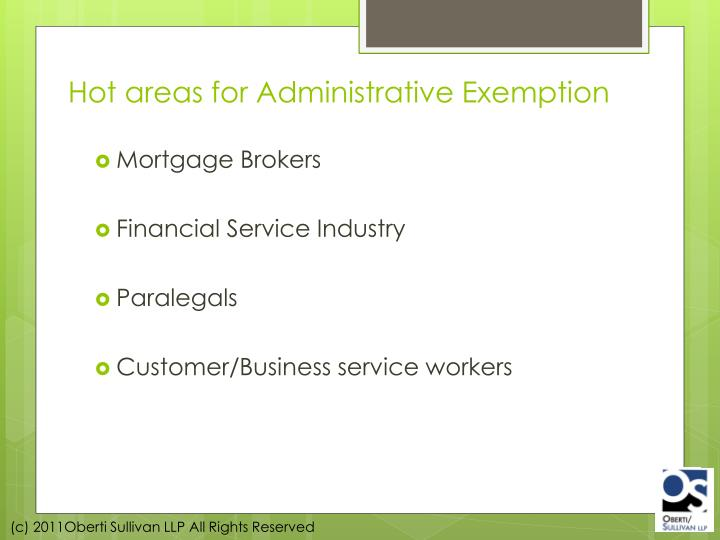 Hot areas for Administrative Exemption