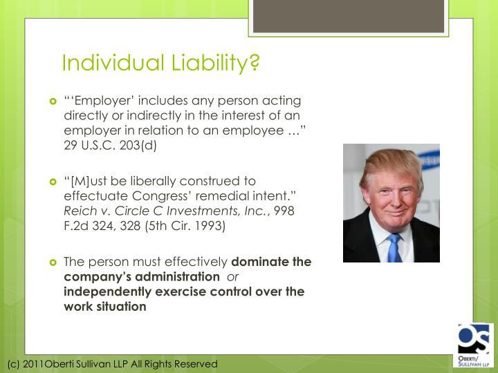 Individual Liability?