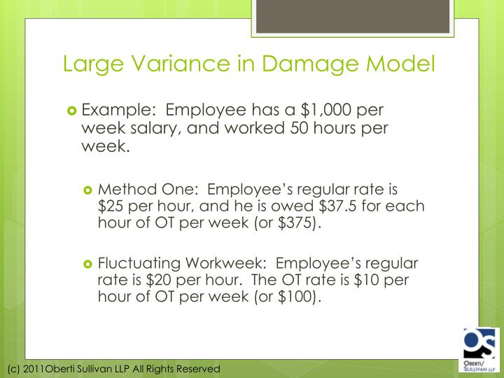 Large Variance in Damage Model
