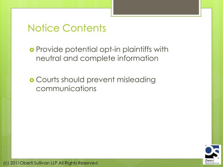 Notice Contents