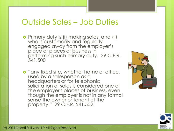 Outside Sales – Job Duties