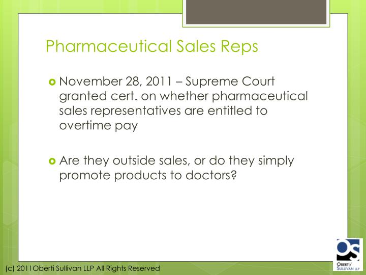 Pharmaceutical Sales Reps