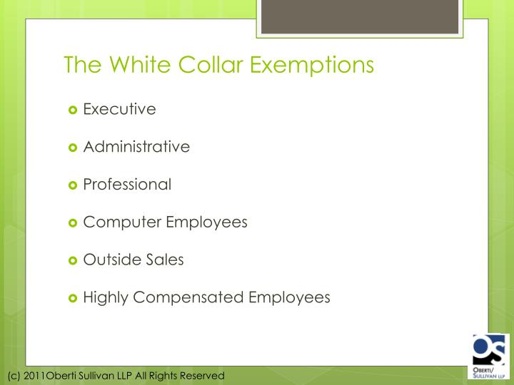 The White Collar Exemptions