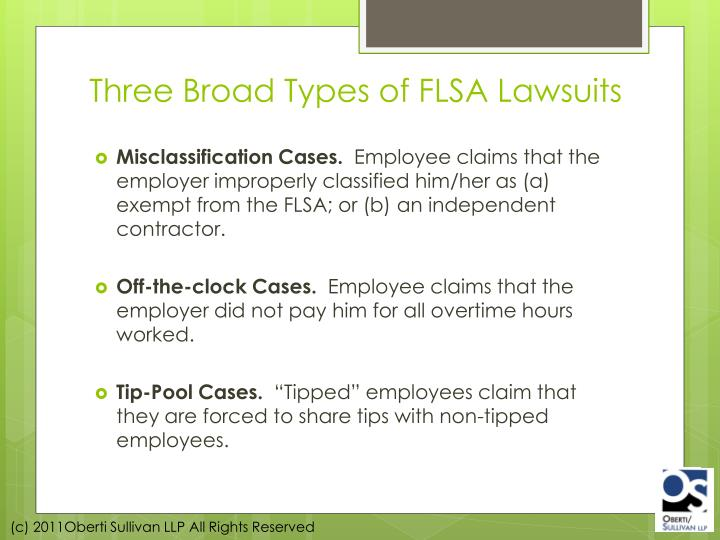 Three Broad Types of FLSA Lawsuits