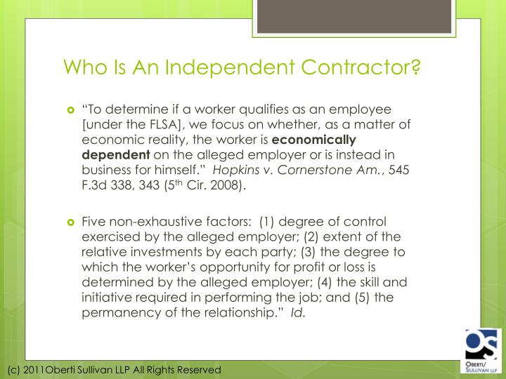 Who Is An Independent Contractor?
