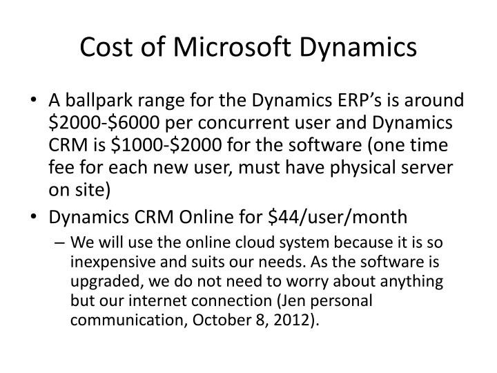 Cost of Microsoft Dynamics