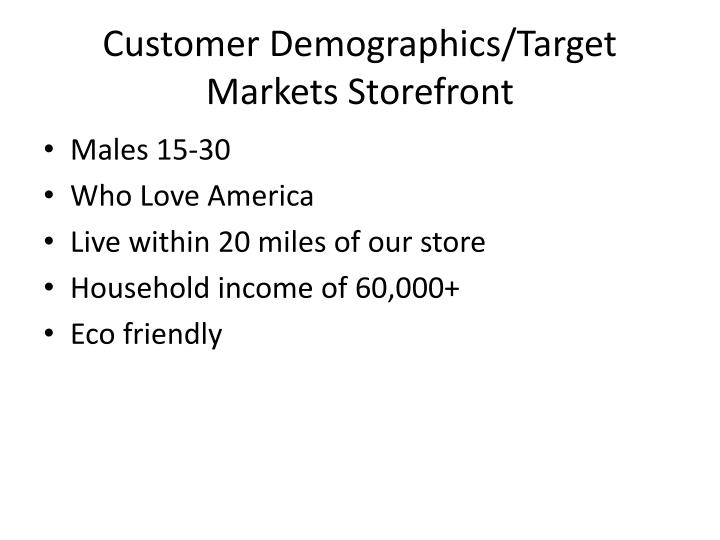 Customer Demographics/Target Markets Storefront