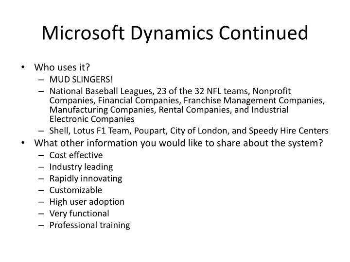 Microsoft Dynamics Continued
