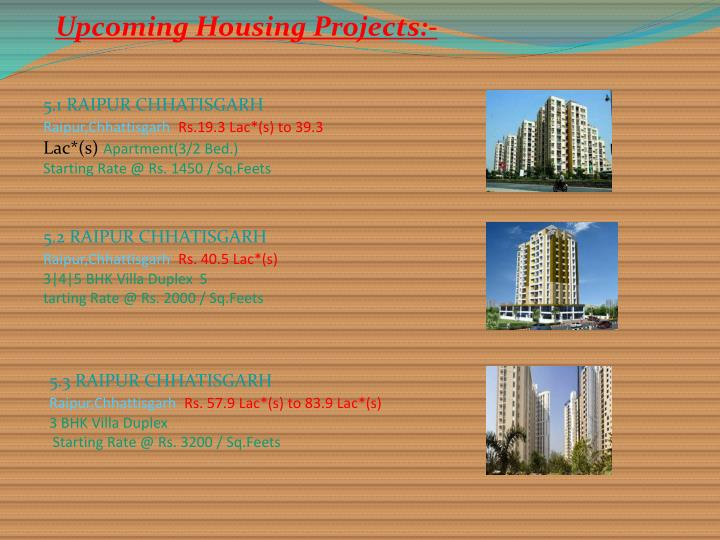 Upcoming Housing Projects:-