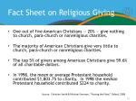 fact sheet on religious giving