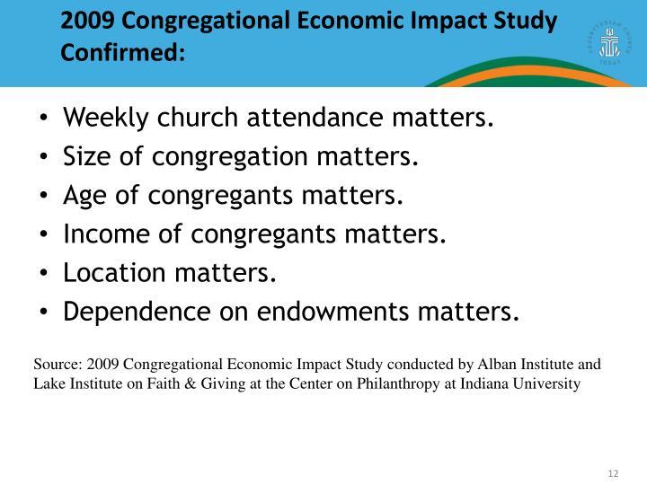2009 Congregational Economic Impact Study Confirmed: