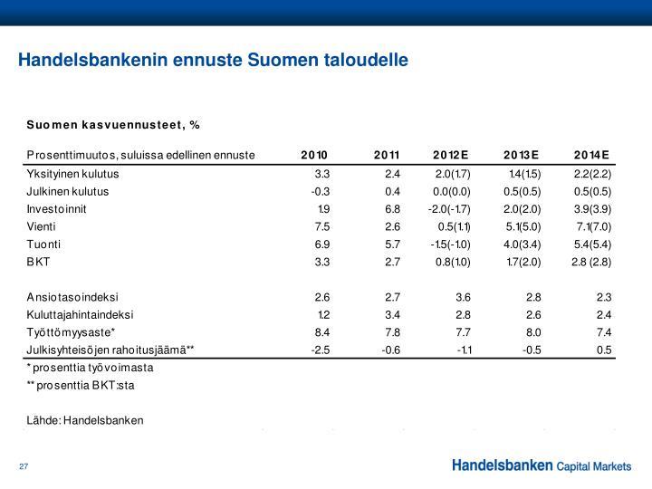 Handelsbankenin ennuste Suomen taloudelle