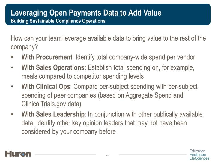 Leveraging Open Payments Data to Add Value
