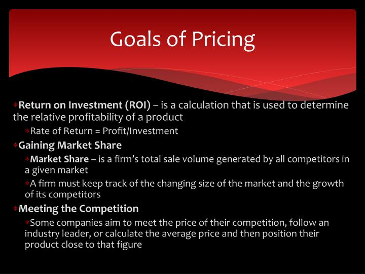 Goals of Pricing