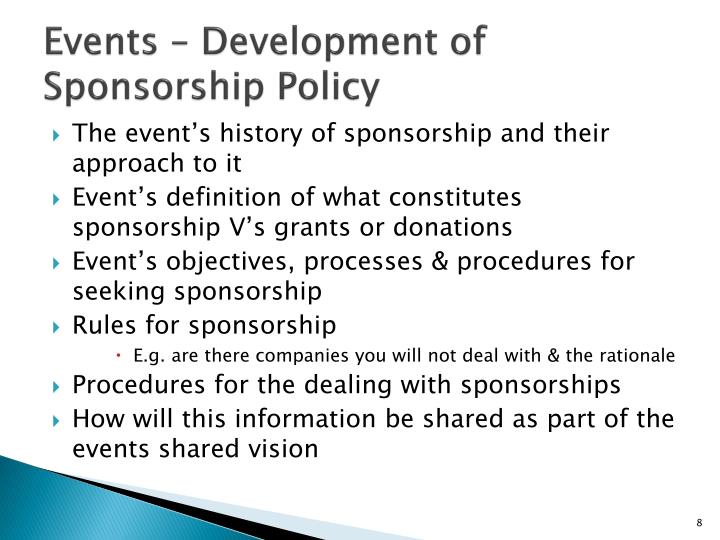 Events – Development of Sponsorship Policy