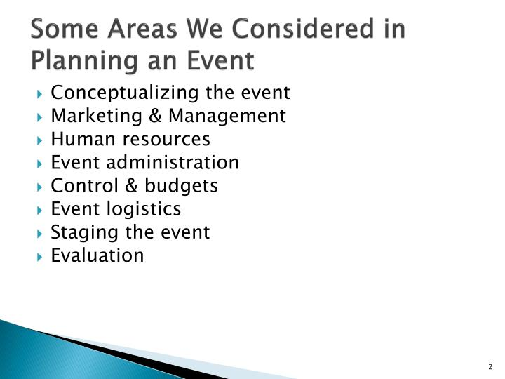 Some Areas We Considered in Planning an Event