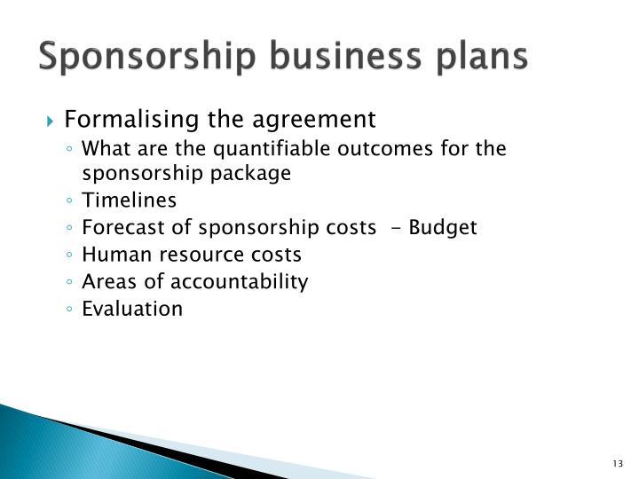 Sponsorship business plans