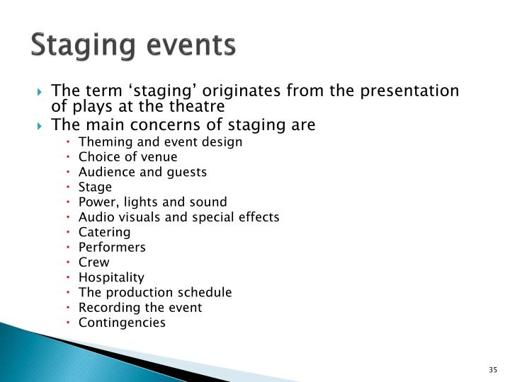 Staging events
