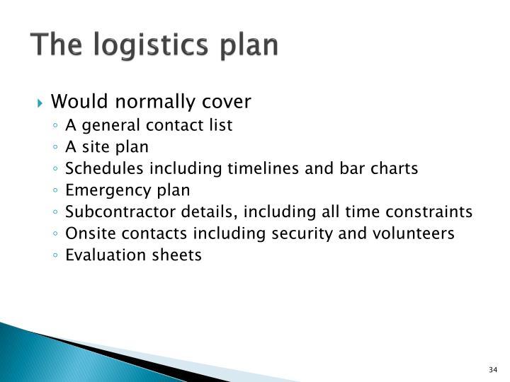 The logistics plan