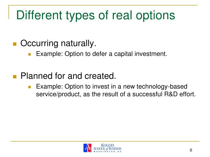 Different types of real options