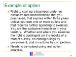 example of option
