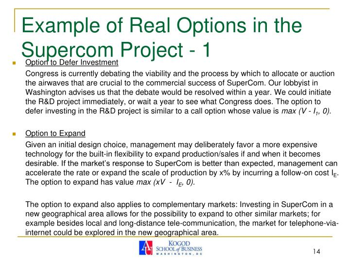 Example of Real Options in the Supercom Project - 1